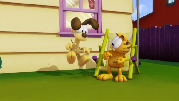 Odie findet eine alte Uhr. Als Garfield auf eine ihrer Tasten drückt, bleibt die Zeit stehen, nur Garfield kann sich noch bewegen...   Rechte: HR/DARGAUD MEDIA