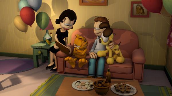 Jon möchte für Liz' Geburtstag ein Familienfoto von sich, Odie und Garfield machen - und zwar mit Selbstauslöser. | Rechte: HR/DARGAUD MEDIA