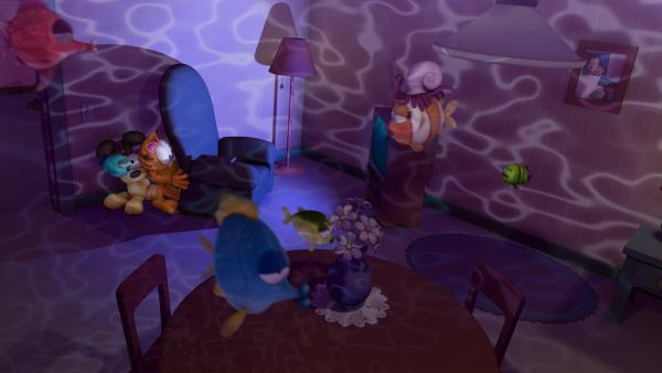 Garfield sieht eine Fernsehsendung, die die Helden des Fernsehprogramms in den eigenen Wänden real werden lässt.   Rechte: HR/DARGAUD MEDIA
