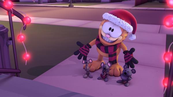 Garfield macht sich auf, um sich mit Weihnachtsliedern ein paar Süßigkeiten zu verdienen. | Rechte: HR/DARGAUD MEDIA
