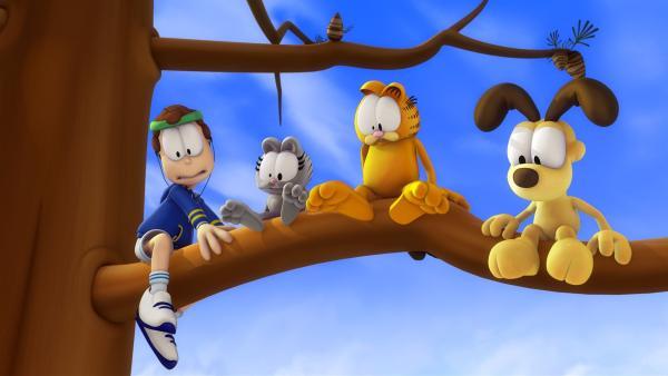 Garfield klettert auf einen Baum. Leider traut er sich aber nicht mehr runter. Im Laufe der Zeit bekommt er Gesellschaft von Odie, Nermal, Jon und einem Feuerwehrmann.   Rechte: HR/DARGAUD MEDIA