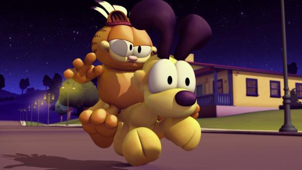 Garfield hat natürlich nichts besseres im Sinn, als die Eisverkäuferin zu ärgern. | Rechte: HR/DARGAUD MEDIA