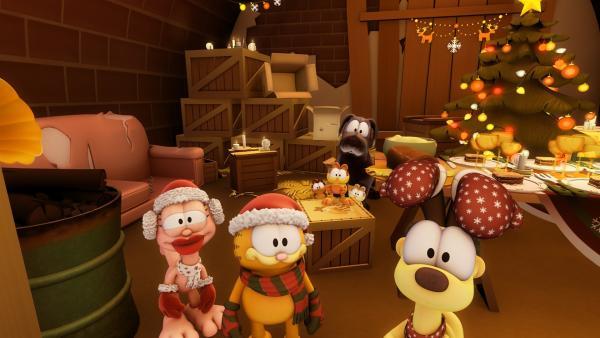 Mit Arlene richten Garfield und Odie ein weihnachtliches Festessen für streunende Hunde in der Nachbarschaft aus.   Rechte: HR/DARGAUD MEDIA