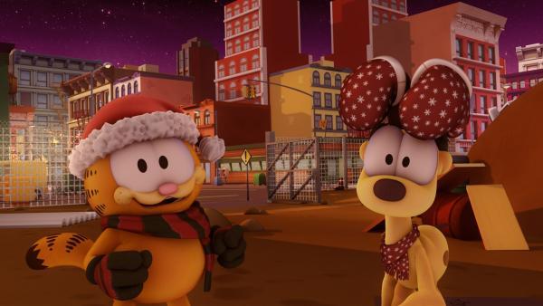 Garfield und Odie wollen herrenlosen Hunden zu Weihnachten eine Freude bereiten. | Rechte: HR/DARGAUD MEDIA
