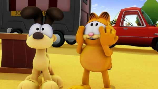 Garfield und Odie machen Urlaub in einem Geisterhaus. | Rechte: HR/DARGAUD MEDIA