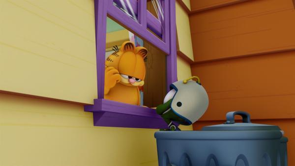 Ein Außerirdischer hebt in Garfields Haus die Schwerkraft auf.   Rechte: HR/DARGAUD MEDIA