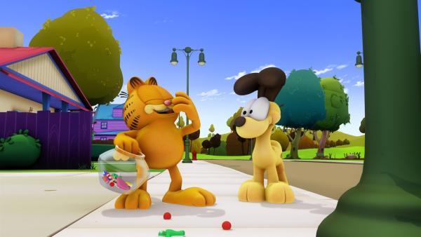Als Garfield von Jons nervigen Nichten besucht wird, lockt er diese in das Haus einer Hexe.   Rechte: HR/DARGAUD MEDIA