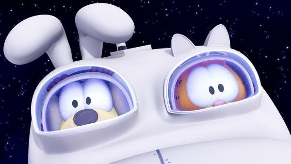 Garfield und Odie versuchen die Erde vor ihrer Zerstörung durch einen heran rauschenden Pasteroiden zu retten. | Rechte: HR/DARGAUD MEDIA