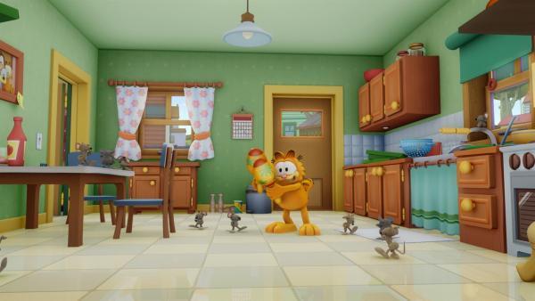 Der Besuch einer Maus lässt Panik ausbrechen, denn plötzlich fürchten die sich doch vor Garfield. | Rechte: HR/DARGAUD MEDIA