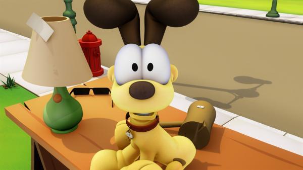 Garfield verkauf Odie, der ihn gerade mal wieder nervt, zu einem Spottpreis auf dem Flohmarkt.   Rechte: HR/DARGAUD MEDIA