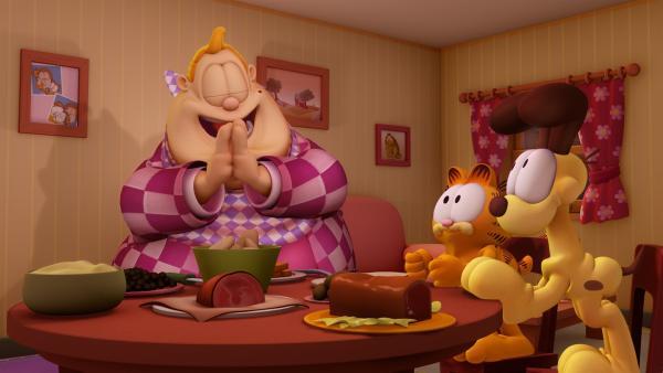 Garfield hungert, denn Jons Besuch scheint ähnlich viel zu verdrücken wie der Kater.   Rechte: HR/DARGAUD MEDIA