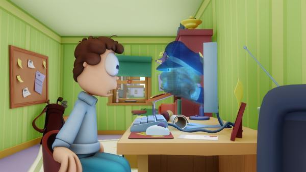 Garfield quält den Postboten so lange, dass der nun die Post nur noch virtuell zustellt. | Rechte: HR/DARGAUD MEDIA
