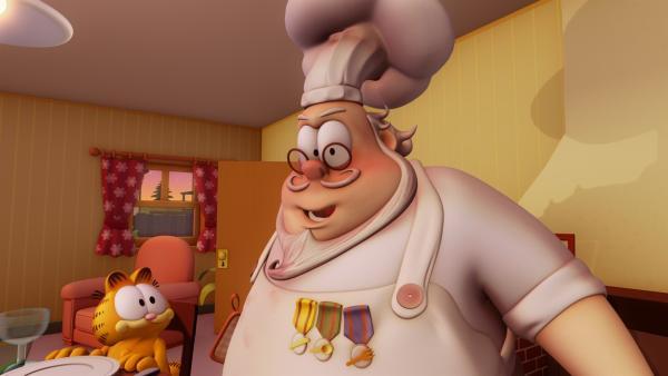 Garfield hört, dass es noch eine viel bessere Lasagne geben soll und macht sich auf die Suche. | Rechte: HR/DARGAUD MEDIA