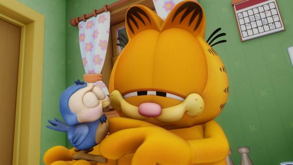 Garfield entdeckt seine Liebe zu einem kleinen Vogel, den er unbedingt beschützen will. | Rechte: HR/DARGAUD MEDIA