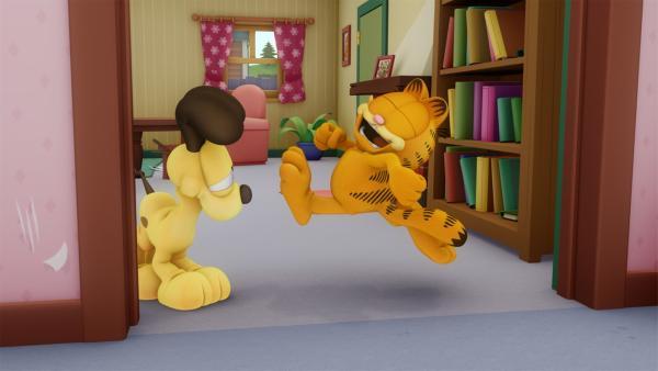 Tante Ivy sucht Jon, Garfield und Odie heim, die sie sofort bei Jons Bruder auf der Farm abladen wollen. | Rechte: HR/DARGAUD MEDIA