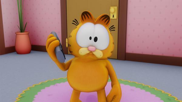 Garfield hängt in einer telefonischen Warteschleife fest. | Rechte: HR/DARGAUD MEDIA