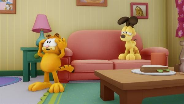 Aus Versehen isst Garfield Hundefutter, das dazu führt, dass er sich nun auch wie ein Hund fühlt. | Rechte: HR/DARGAUD MEDIA