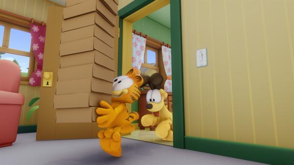 Garfield hat einen Glückstag erwischt. Er schnappt sich zwölf Dutzend Donuts, die Jon für eine Party gekauft hat. | Rechte: HR/DARGAUD MEDIA