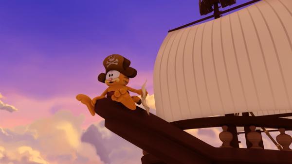 In ihrer Fantasie begeben sich Garfield, Odie und Squeak als Piraten auf Schatzsuche. | Rechte: HR/DARGAUD MEDIA