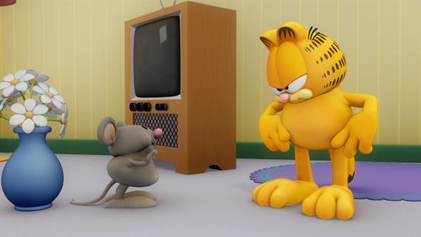 Die Hamsterratte Packy bringt Jon in große Schwierigkeiten. Jetzt ist es an Garfield und Odie Jon zu retten. | Rechte: HR/DARGAUD MEDIA