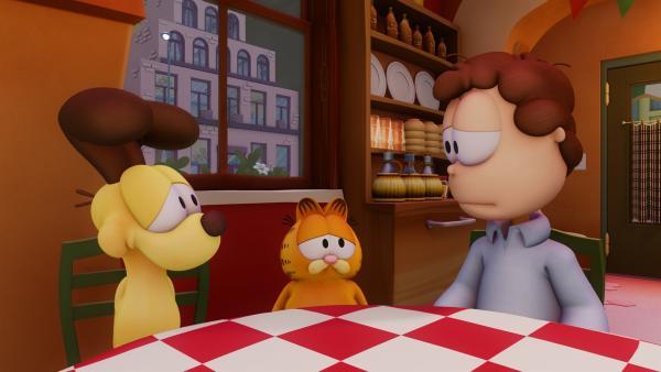 Odie, Garfield und Jon (v.l.n.r.) sind niedergeschlagen, weil Vito sein Talent zu Kochen verloren hat. | Rechte: HR/DARGAUD MEDIA