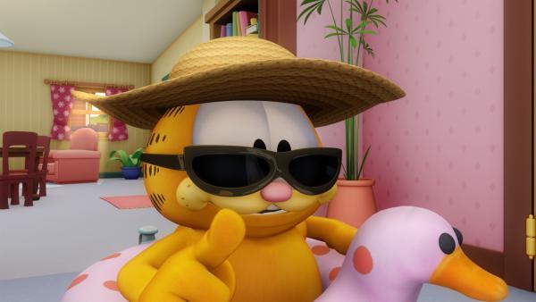 Garfield ist bereit für den Strand. | Rechte: HR/DARGAUD MEDIA
