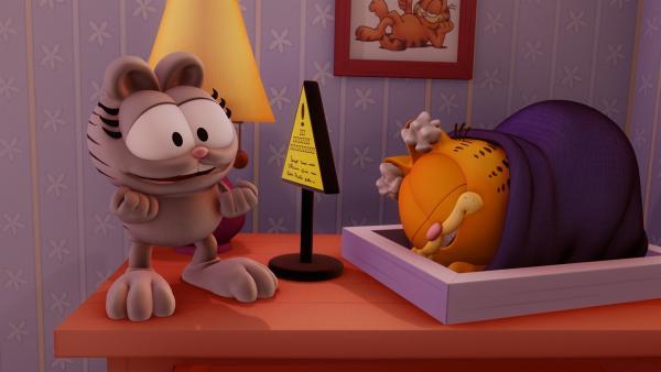 Garfield hält Winterschlaf und bekommt nichts von der Party mit, die Nermal in Jons Haus veranstaltet.   Rechte: HR/DARGAUD MEDIA