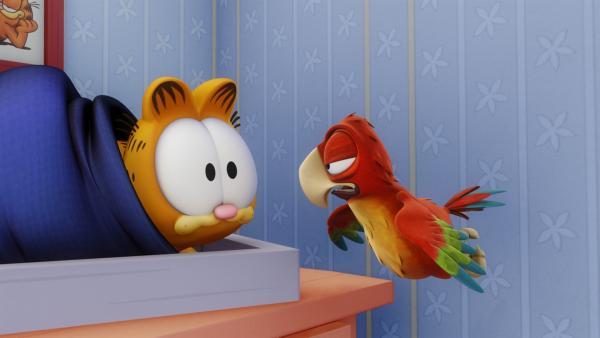 Der depressive Papagei Paxton ist bei Jon in Pflege. Mit seiner trüben Stimmung steckt er schon bald alle an. | Rechte: HR/DARGAUD MEDIA