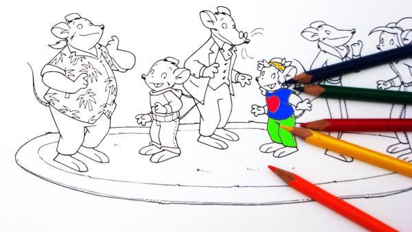 Ausmalbild von Geronimo mit Buntstiften