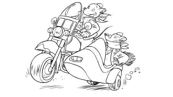 Geronimo und sein Freund in einem Motorrad | Rechte: kika