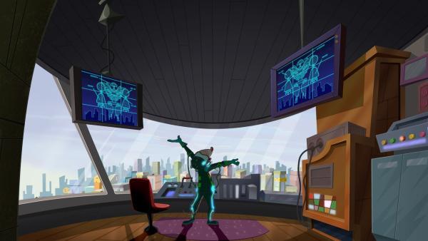 Der verrückte Professor Ravenrat möchte die Daten der ganzen Welt unter seine Kontrolle bringen. Geronimo will ihn davon abhalten.   Rechte: hr/Atlantyca Entertainment/Moonscoop