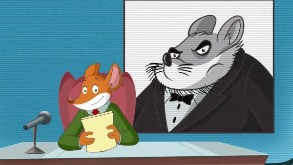 "Geronimo berichtet in seiner Sendung ""Mausreport"" über den Gauner Krawallo Krum.   Rechte: hr/Atlantyca Entertainment/Moonscoop"