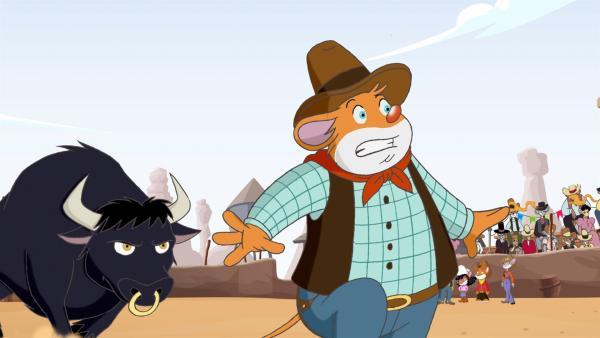 Effeff flüchtet vor dem wilden Bullen auf dem Rodeo von Kaktus-City. | Rechte: hr/Atlantyca Entertainment/Moonscoop