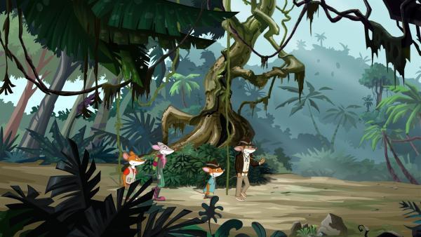Der berühmte Abenteurer Adam Quartermouse führt die Stiltons durch den Dschungel. | Rechte: hr/Atlantyca Entertainment/Moonscoop