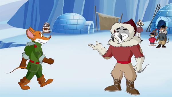 Die Eskimos bitten Geronimo um Hilfe, weil ihre Eisberge schmelzen. | Rechte: hr/Atlantyca Entertainment/Moonscoop