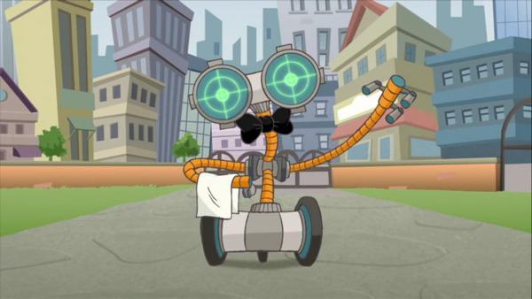 Der Robo-Butler soll Geronimos Haushalt in Ordnung bringen. Leider will er gleich das ganze Leben Geronimos kontrollieren. | Rechte: HR/Atlantyca Entertainment/Moonscoop/M6/RAI Fiction