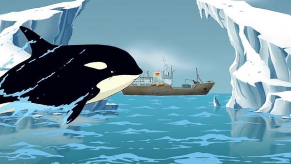 Ein Killerwal greift das Forschungsschiff an, auf dem die Stiltons in die Antarktis fahren. Warum? | Rechte: HR/Atlantyca Entertainment/Moonscoop/M6/RAI Fiction