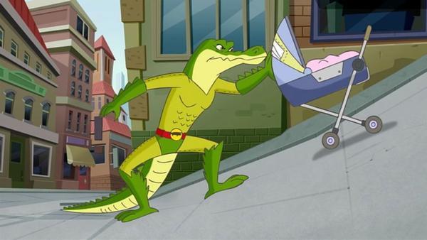 Mausilia hat einen neuen Superhelden: Immer wenn jemand in Not ist, taucht ein mysteriöses Krokodil auf und hilft. Geronimo ist skeptisch. Wer steckt dahinter?   Rechte: HR/Atlantyca Entertainment/Moonscoop/M6/RAI Fiction