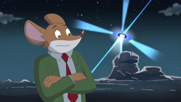 Geronimo ist skepitsch ob es in der Wüste tatsächlich UFOs gibt. | Rechte: hr/Atlantyca Entertainment/Moonscoop