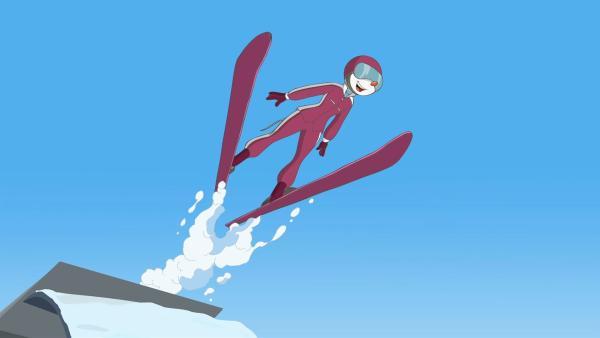 Jemand manipuliert die Sportausrüstungen bei den Winterspielen. | Rechte: hr/Atlantyca Entertainment/Moonscoop