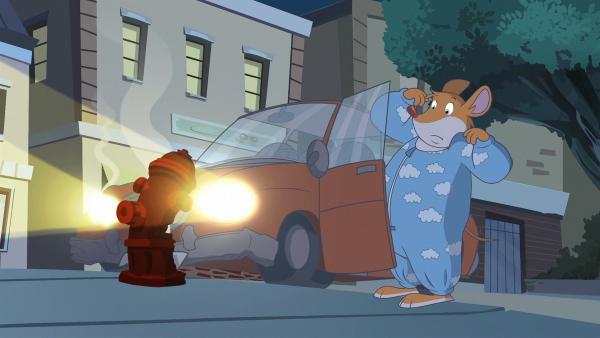 Effeff hat leider eine Beule ins Auto gefahren. | Rechte: hr/Atlantyca Entertainment/Moonscoop