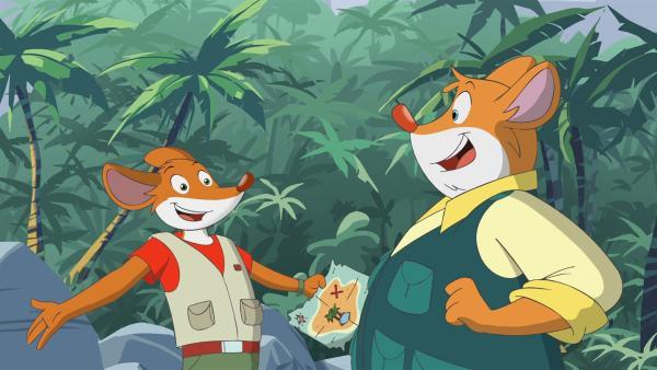Geronimo und Effeff wollen die Insel auf der Schatzkarte finden. | Rechte: hr/Atlantyca Entertainment/Moonscoop