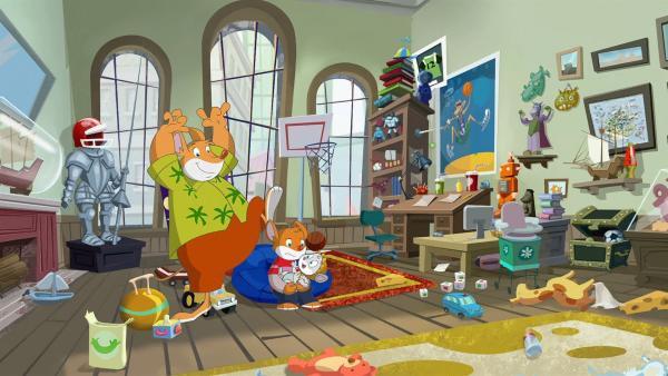 Effeff und Benjamin sollen Babysitten. Das gibt ein großes Chaos. | Rechte: hr/Atlantyca Entertainment/Moonscoop