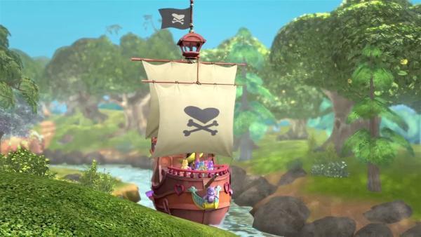 Die Glücksbärchis sind unterwegs auf ihrem Piratenschiff. | Rechte: KiKA/TCFC