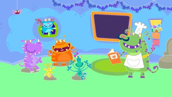 Weil die Lehrerin krank ist, vertritt sie Herr Butternuss in der Monsterschule.   Rechte: ZDF/Cbeebies