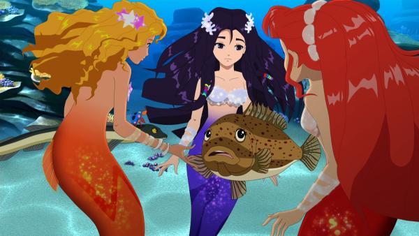 Die Fische bitten Emma, Cleo und Rikki (v.l.n.r.) um Hilfe. Es verschwinden immer mehr Clownfische. | Rechte: ZDF/Les Cartooneurs Associés