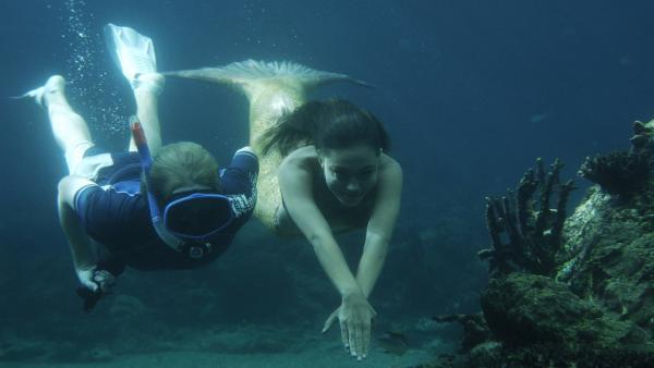 Cleo (Phoebe Tonkin, re.) und Lewis (Angus McLaren, li.) unter Wasser. Sie suchen nach geeigneten Ködern für Lewis Angel.   Rechte: ZDF/Jasin Boland