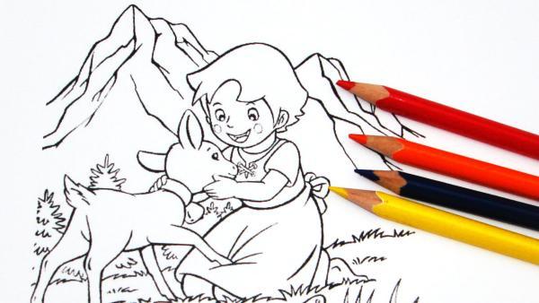 Ausmalbild von Heidi mit Buntstiften