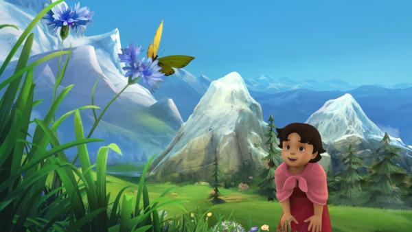 Heidi verfolgt einen Schmetterling. | Rechte: ZDF/Studio 100 Animation/Heidi Productions Pty. Limited