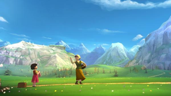 Tante Dete lässt Heidi auf der Alm zurück. | Rechte: ZDF/Studio 100 Animation/Heidi Productions Pty. Limited